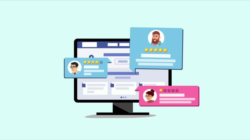 Satisfide customer review animation. Giving online review. Customer rating for work. 2d animation video. | Shutterstock HD Video #1081273583
