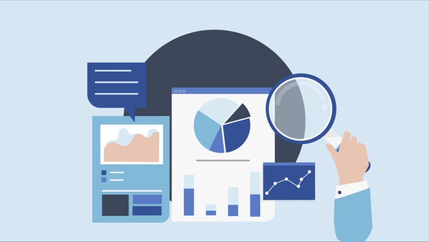 Business data analytics dashboard animation.Financial report analysis. search result page searching result. | Shutterstock HD Video #1081273586