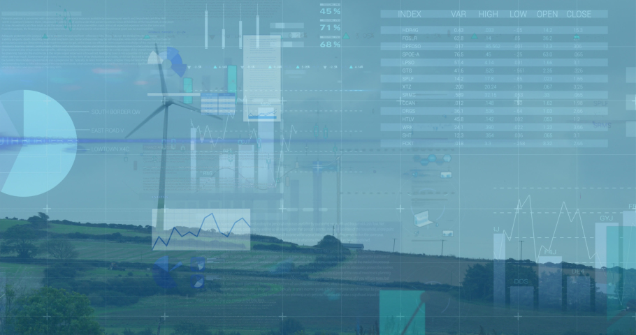 Animation of statistics and data processing over wind turbines in countryside landscape. environment, sustainability, ecology, renewable energy, global warming and climate change awareness. | Shutterstock HD Video #1081309454