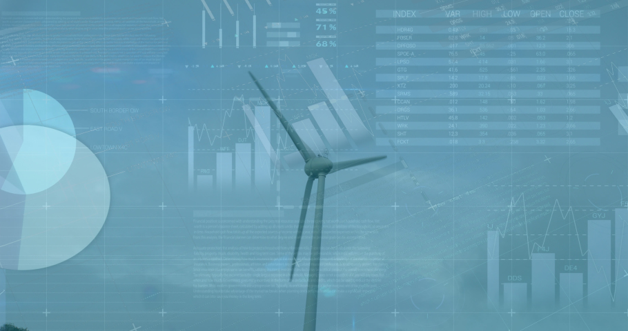 Animation of statistics and data processing over wind turbines in countryside landscape. environment, sustainability, ecology, renewable energy, global warming and climate change awareness. | Shutterstock HD Video #1081309463