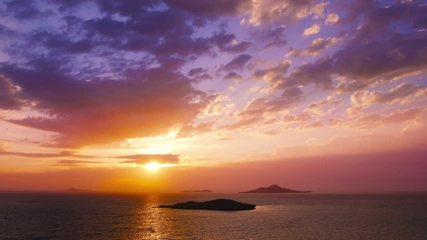 Dramatic sunset over sea, Mar Menor lagoon, seascape, landscape.Time-lapse.