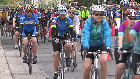 Toronto, Ontario, Canada - June 2015 Bike race and ride through the streets of Toronto