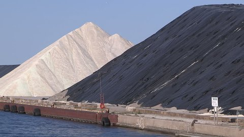 Toronto, Ontario, Canada - April 2015 Road salt piled up on the dock in Toronto for the winter season