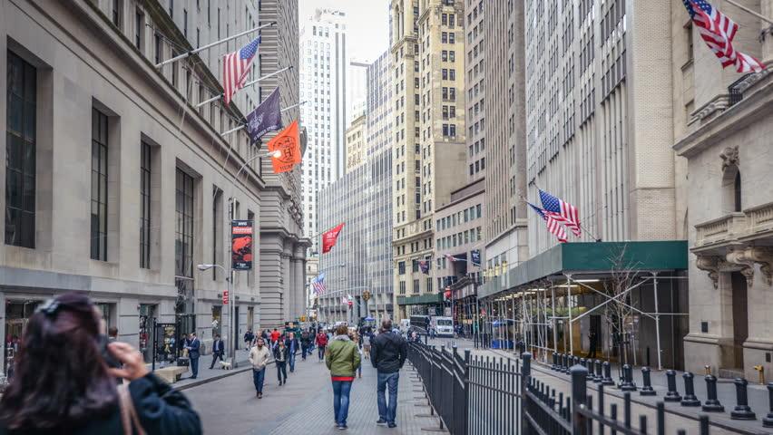 Timelapse of the Wall Street, New York, USA. In 4K.   Shutterstock HD Video #10836875