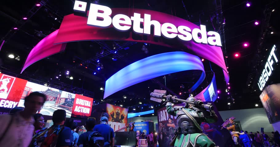 LOS ANGELES - June 17, 2015: Bethesda Softworks booth at the E3 2015 expo in Convention Center. Electronic Entertainment Expo is an annual trade fair for the video game industry. 4K UHD.