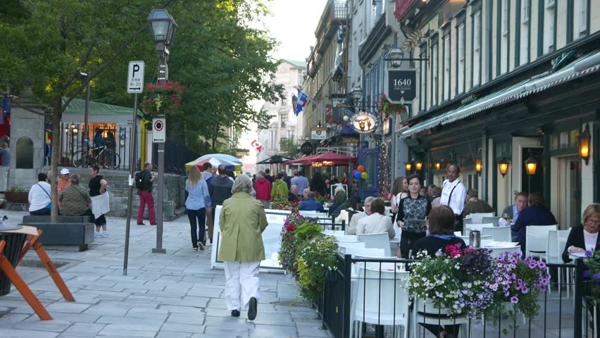 QUEBEC, CANADA - MAY 2015 : Streets with tourists. Quebec City is one of the oldest European settlements in North America. | Shutterstock HD Video #10895654