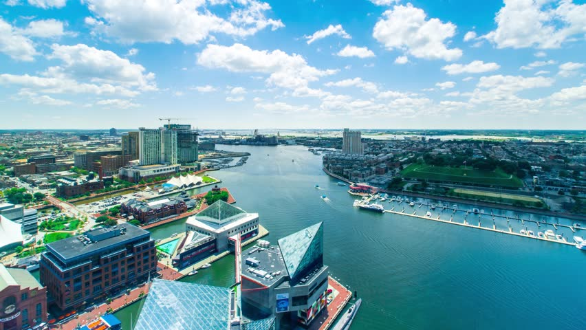 Aerial view time-lapse of Baltimore Inner Harbor