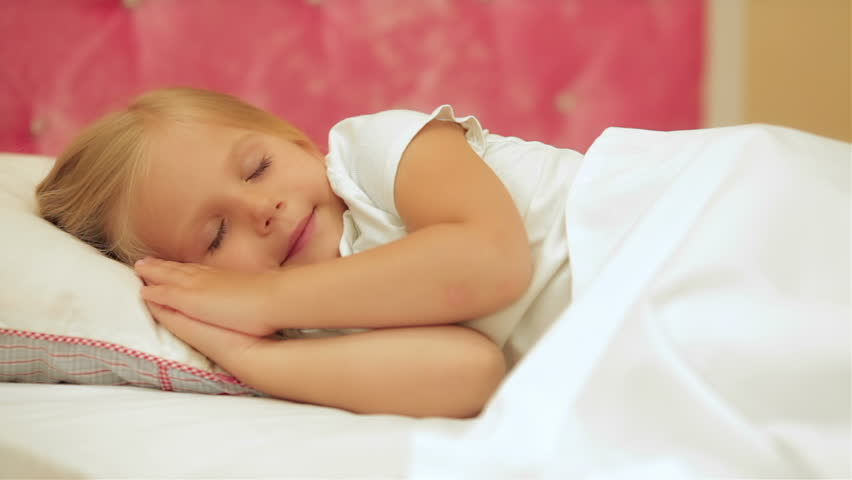 Adorable little girl sleep in the bed | Shutterstock HD Video #10917188