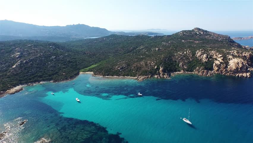 Aerial over the coast of sardinia.