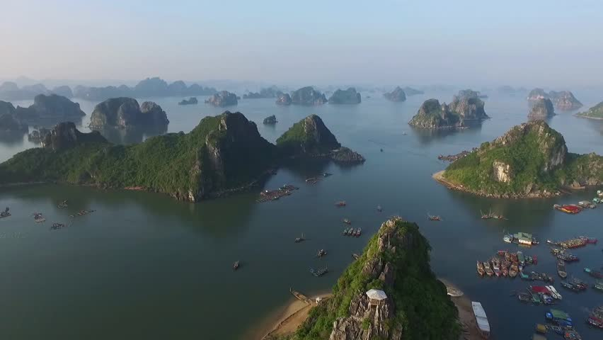 Beautiful sea landscape from flycam in Ha Long Bay, Vietnam. Halongbay is World Natural Heritage of Quang Ninh, Vietnam.