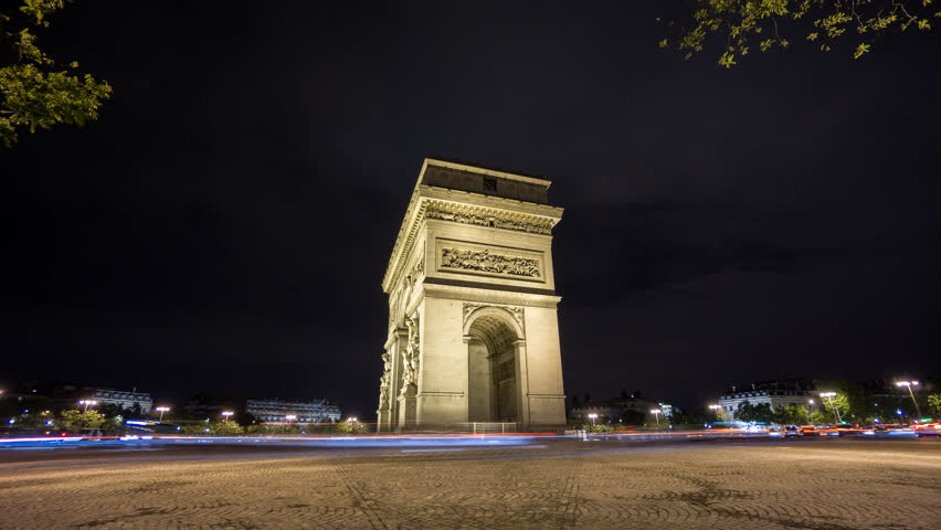 Wide angle Time Lapse of Arc de Triomphe at night, Paris, 4K, car trails | Shutterstock HD Video #10929314