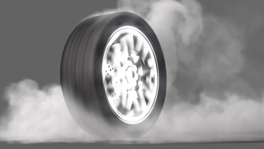 Extreme tire Burnout on asphalt, lots of smoke & heat :) seamless loop, + alpha channel rendered with extreme level of details for fullHD | Shutterstock HD Video #1092988
