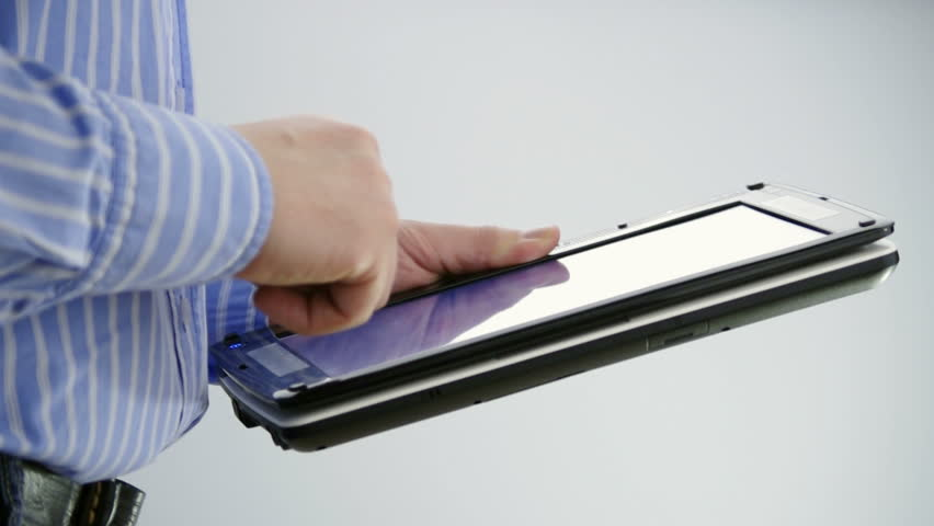 man working on tablet PC with touch screen