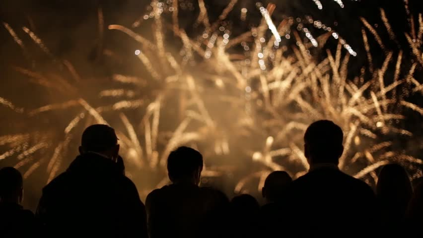 Silhouettes of people watching fireworks #10977962