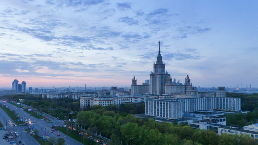 Moscow, Russia, 9 May - 2015. Moscow University at the evening timelapse #10978163