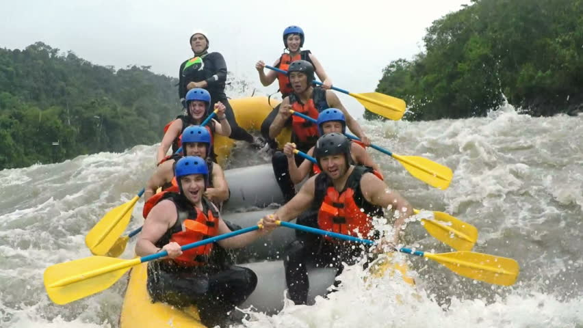 Up And Down On Whitewater Rafting Trip On Class Four Rapids #10979213