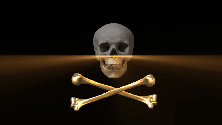 Skull and Bones 3D animation with laser light swiping and plating them in gold. #1098037