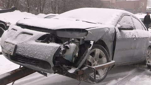 Kitchener, Ontario, Canada February 2015 Multiple car bus truck accident crash in snow storm on highway
