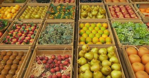 Fresh fruit assortment in rustic wooden box