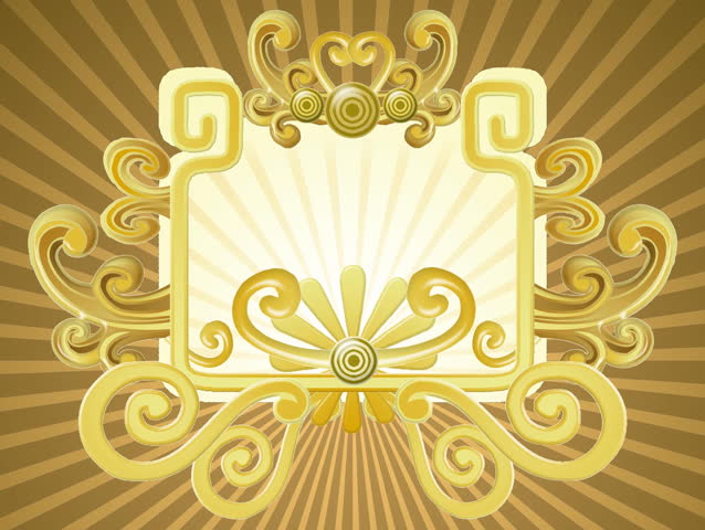 Retro vector style framing with golden elements slowly growing