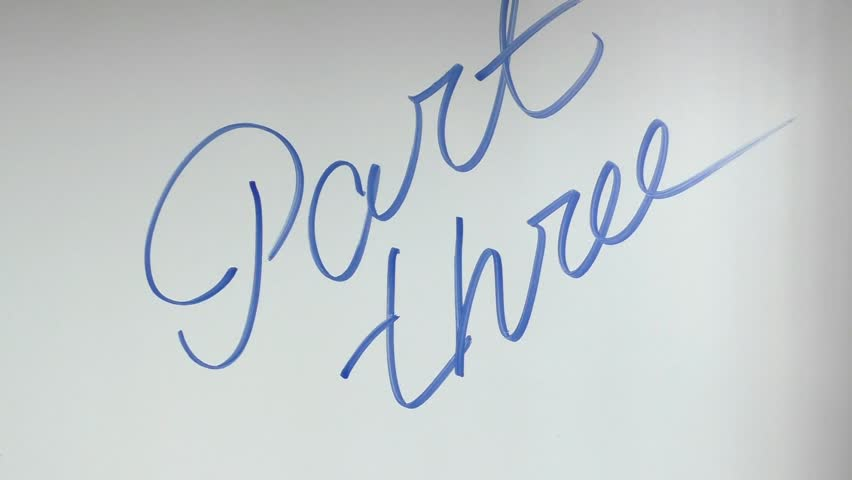 Hand writing and erasing words Part three on whiteboard by blue marker   Shutterstock HD Video #11063789