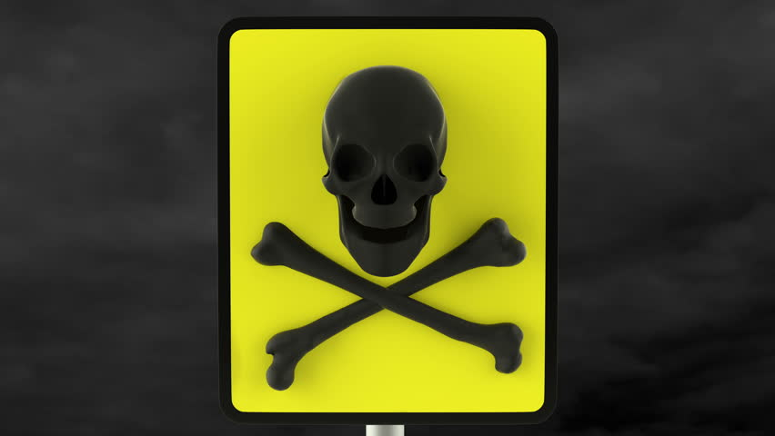 Yellow danger sign with black laughing skull. Loop ready animation of danger sign with mask included. | Shutterstock HD Video #11065850