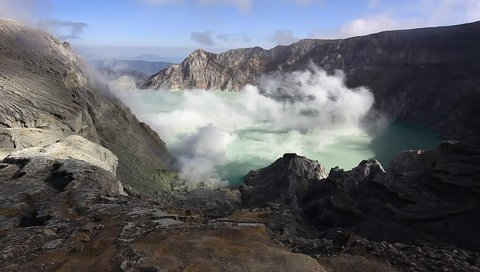 Gas from the volcano is still active. Country Indonesia.