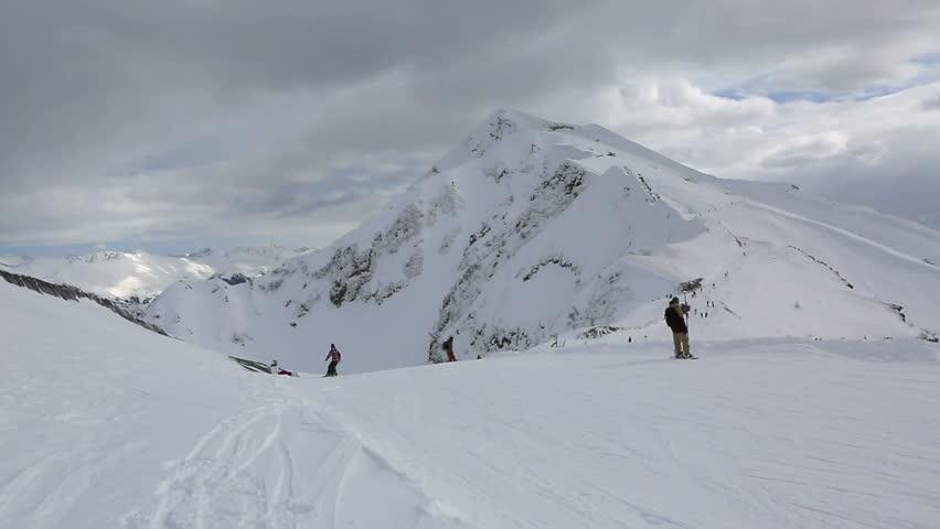 Sochi, Russia - February 11, 2015: Ski slopes in the Rosa Khutor Alpine Resort | Shutterstock HD Video #11095049