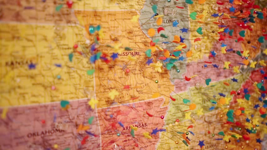 Us Wall Map With Pins Wall Map of United States Stock Footage Video (100% Royalty free