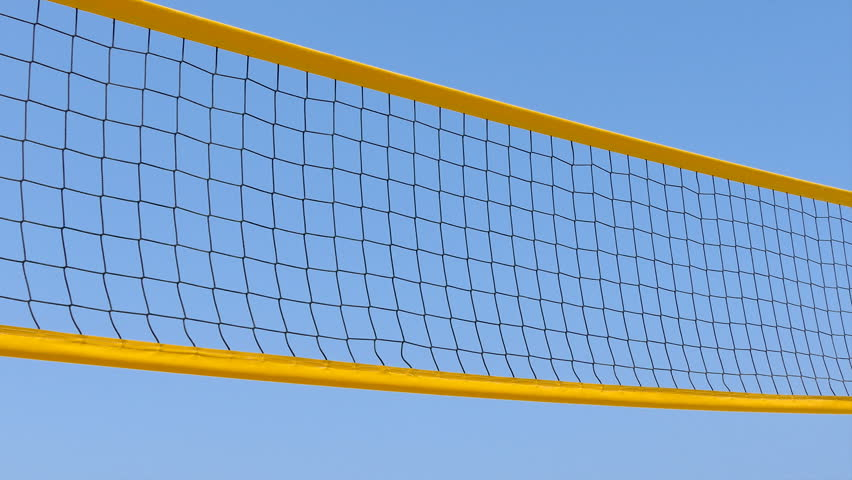Yellow beach volley ball net over blue sky