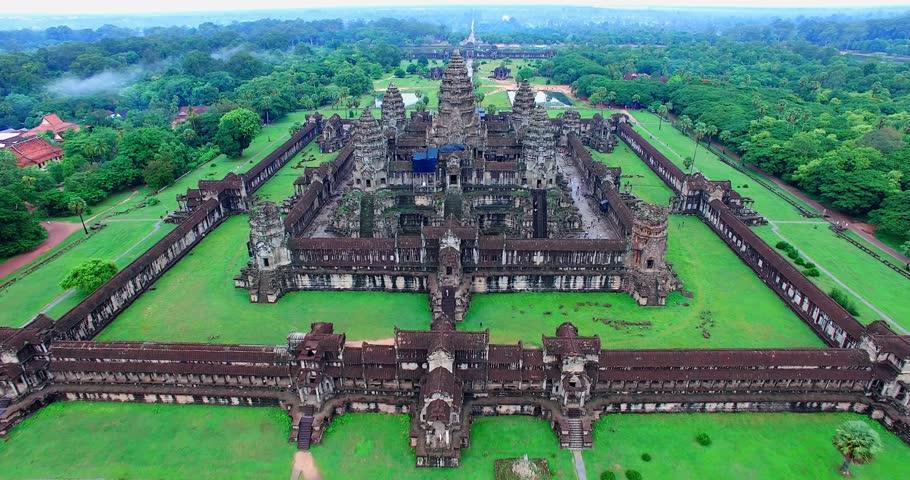 SIEM RIEP,CAMBODIA - CIRCA July 2015 :low forward aerial towards Angkor wat
