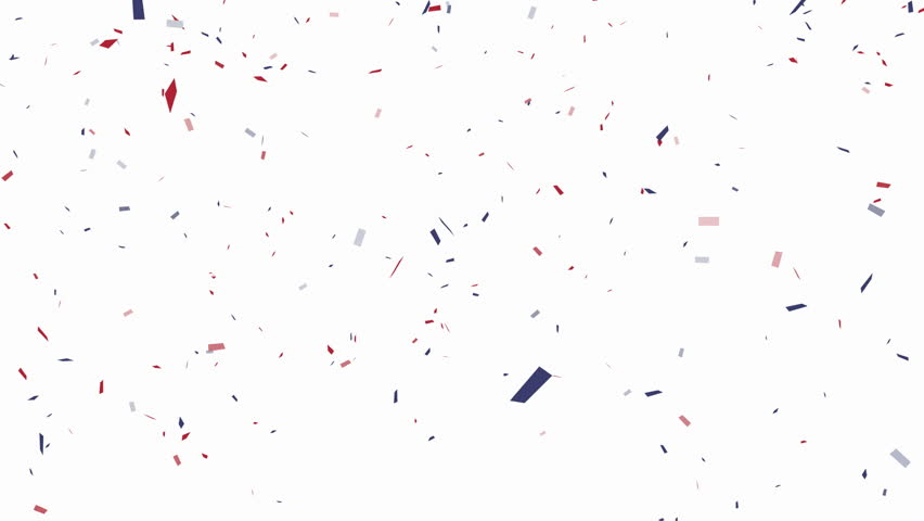Blue, red and white confetti on white background – alpha channel included