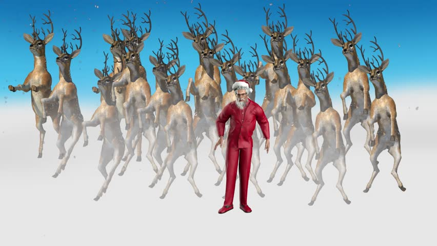 Santa Claus in a red business suit funny dances together with deer | Shutterstock HD Video #11148317