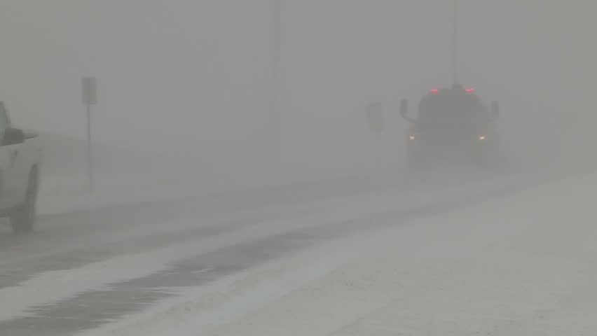 Ontario, Canada January 2014 Snow and blowing snow with blizzard conditions on highway v9