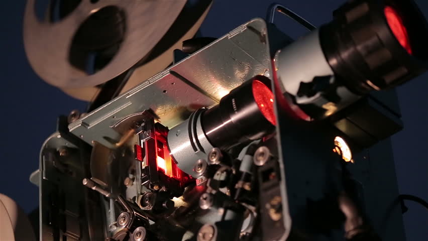 Mechanism Of Film Projector. Film inside the film projector.