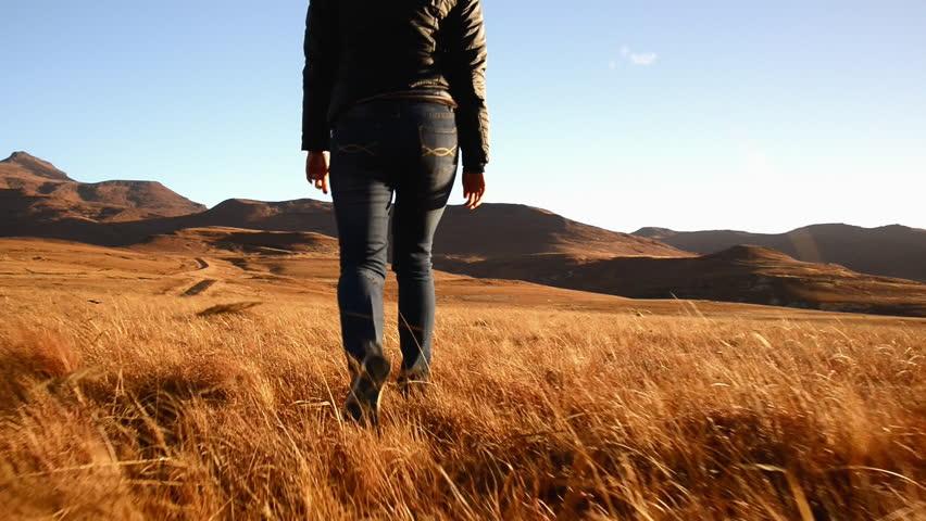 Follow shot steadicam of hiking woman feet in grassland national park | Shutterstock HD Video #11217872