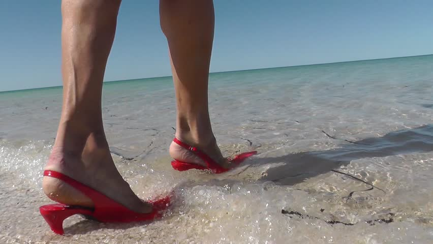 Woman In Y Red High Stock Footage
