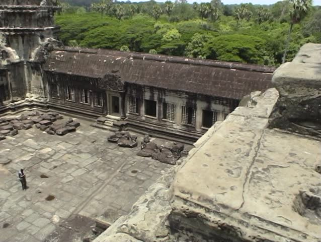 Panning shot from the upper levels of Angkor Wat temple, Cambodia.