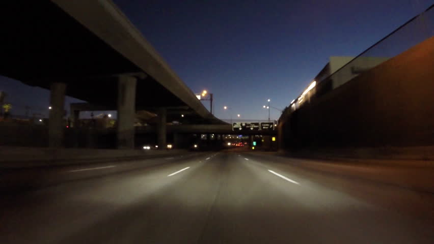 Los Angeles night driving on double deck portion the 110 Harbor Freeway south of downtown. | Shutterstock HD Video #11265590