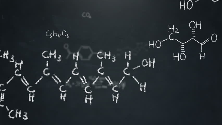 Various organic compounds, chemical formulas and molecules floating by on a chalkboard background. Seamlessly loopable, including alpha matte.