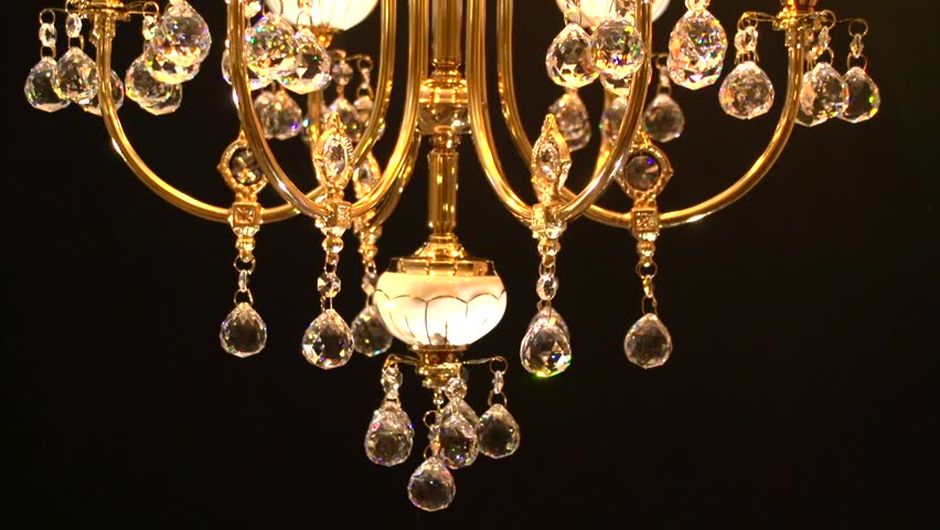 Crystal chandelier on black background. Crystals sway and sparkle. View from the bottom up. High speed camera shot. Full HD 1080p. | Shutterstock HD Video #11274800