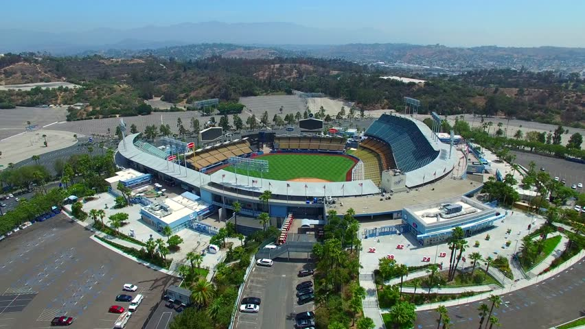 LOS ANGELES - AUGUST 5: Aerial video of Dodgers Stadium Los Angeles California home of the Los Angeles Dodgers was opened in 1963 August 5, 2015 in Los Angeles California USA