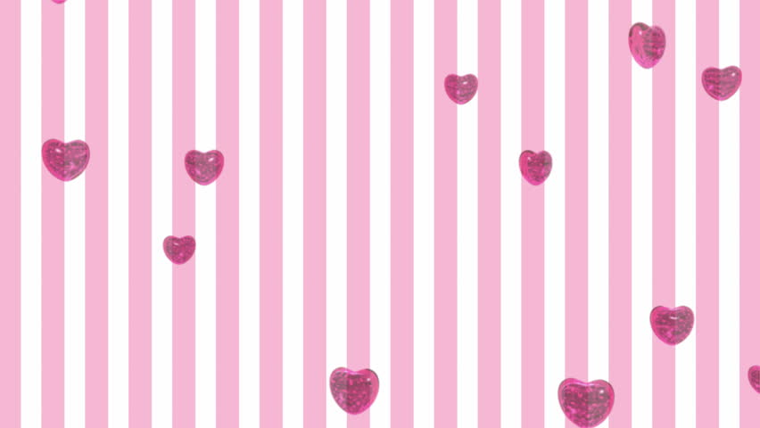 3D rendered heart shaped purple flying balloon over pink striped background .