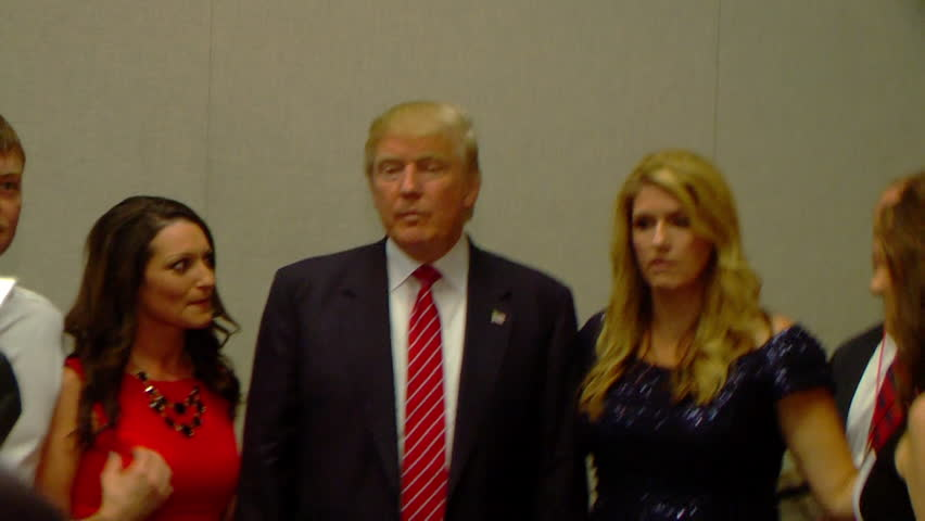 HOT SPRINGS, ARKANSAS/USA - JULY 17, 2015: Donald Trump press conference. Donald Trump meets and greet fans. Take pictures with supporters. 1080p HD.