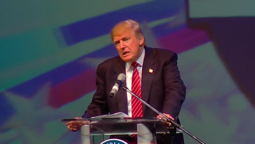 HOT SPRINGS, ARKANSAS/USA - JULY 17, 2015: Donald Trump speaks at Arkansas GOP dinner. Donald Trump on politicians international negotiation skills. Censored SOT 1080p HD.