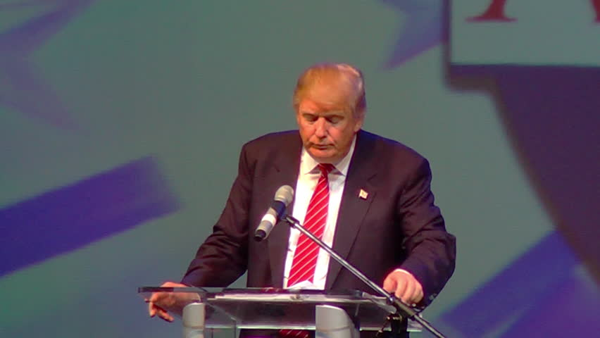 HOT SPRINGS, ARKANSAS/USA - JULY 17, 2015: Donald Trump speaks at Arkansas GOP dinner. Donald Trump on American trade deals and lack of victories. 1080p HD.