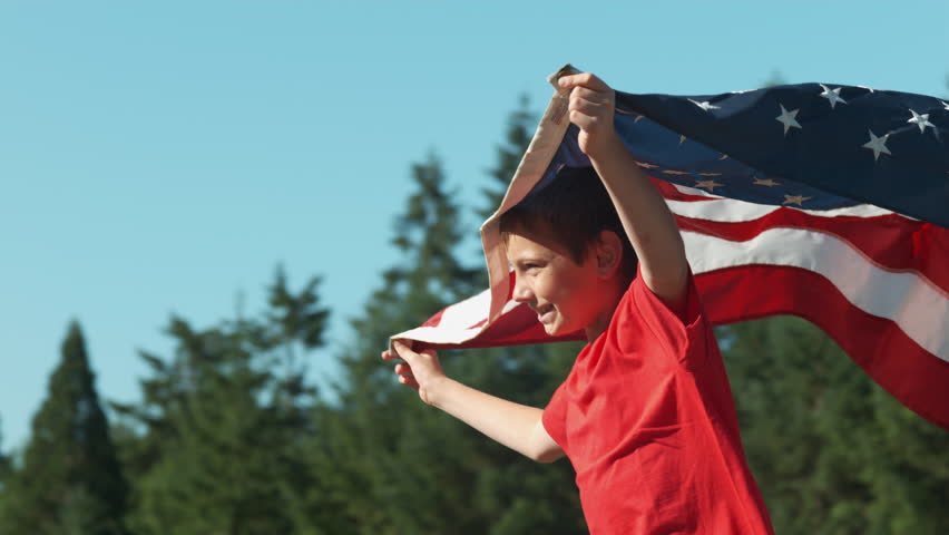 Boy running with American flag, shot on Phantom Flex 4K