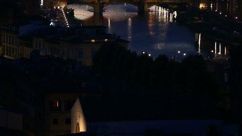Florence Italy July 2015, Tilt Shot Aerial Skyline Sunset Time Ponte Vecchio Bridge at Florence Tuscany Italy