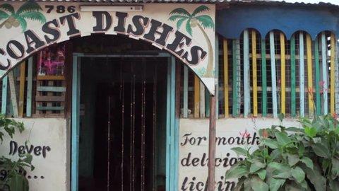 KENYA - CIRCA JULY 2013 - Entrance to a restaurant in rural African town, Maralal, Samburu, Kenya