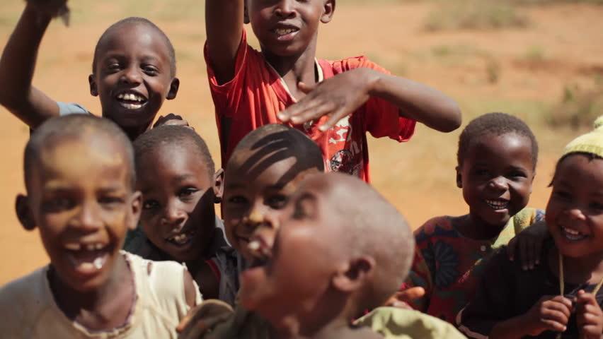 KENYA - CIRCA JULY 2013 - Cute African children smile and play, Samburu, Kenya, Africa